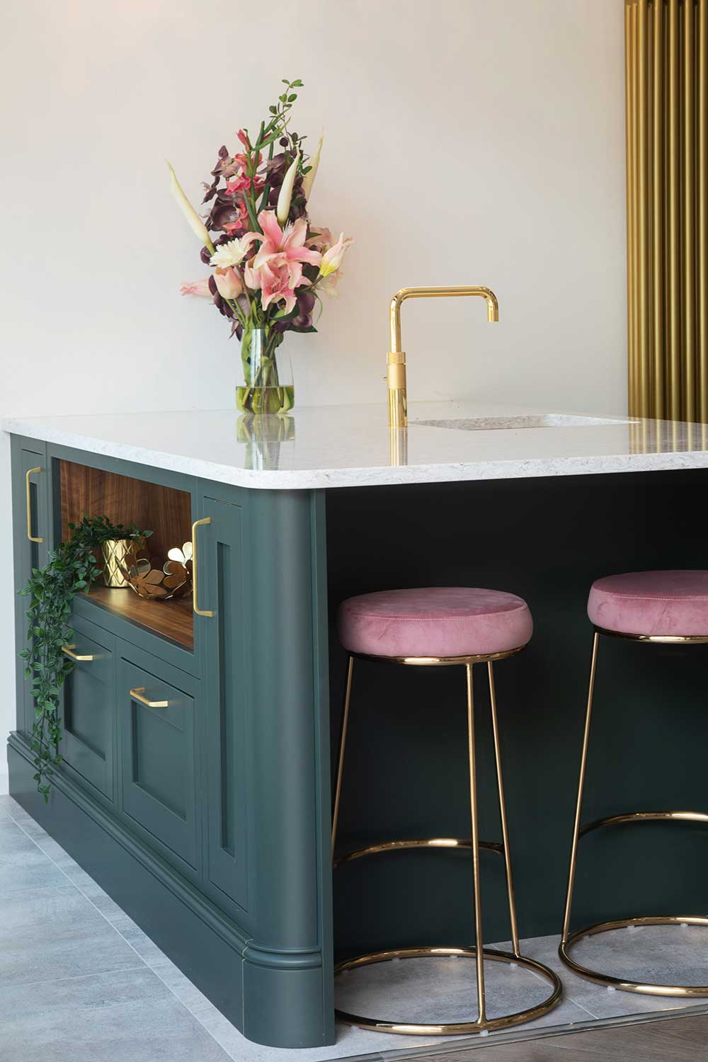 formosa kitchens showroom green units gold and pink velvet bar stool seats