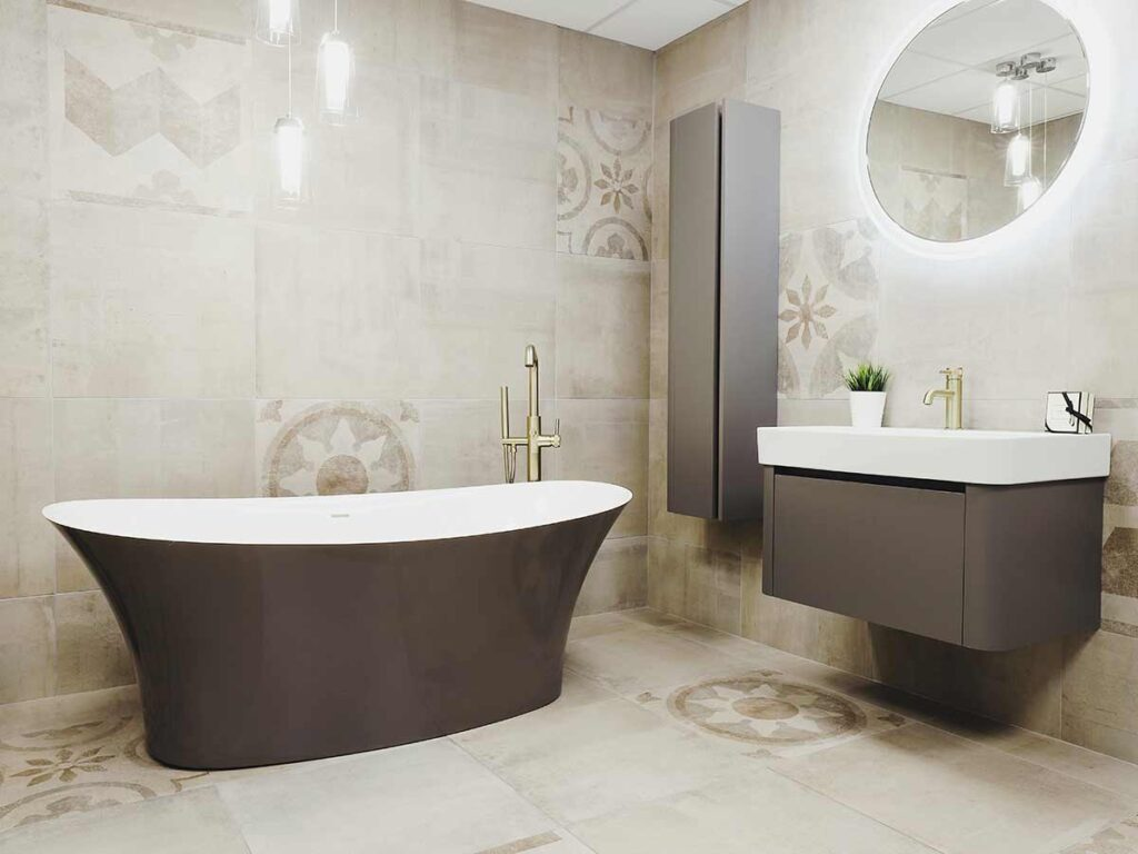 Bathroom with Earthy & rich colour matching freestanding bath and furniture