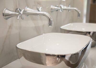 Chrome Sinks mirror effect reflective sink at Formosa Showroom, Bradford-on-Avon, Bath