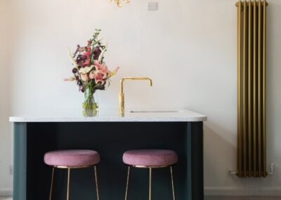 Green Island with Gold Handles Pink Velvet Stools with Gold base