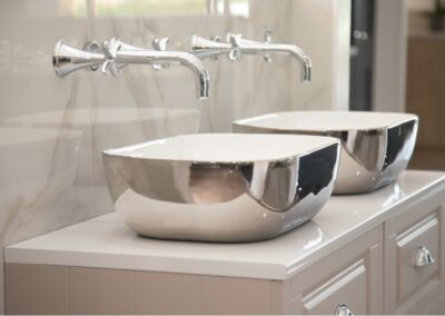 Double sink with Chrome outer mirror effect reflective sink at Formosa Showroom, Bradford-on-Avon, Bath