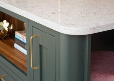 Green Island with Gold Handles Pink Stool