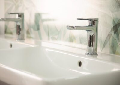 Chrome Mixer tap with double sink and leaf pattern wall paper