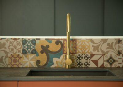 Formosa Showroom Kitchen Mosaic Tiles Gold Tap